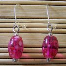 fuschia speckled oval dangle earrings