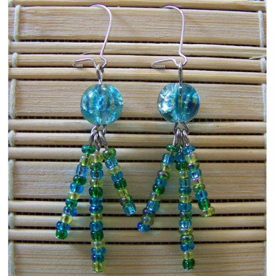 aqua, green and yellow multi-strand dangle earrings