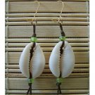 puka shell green dangle earrings