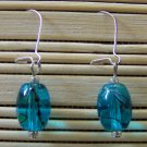aqua speckled oval dangle earrings
