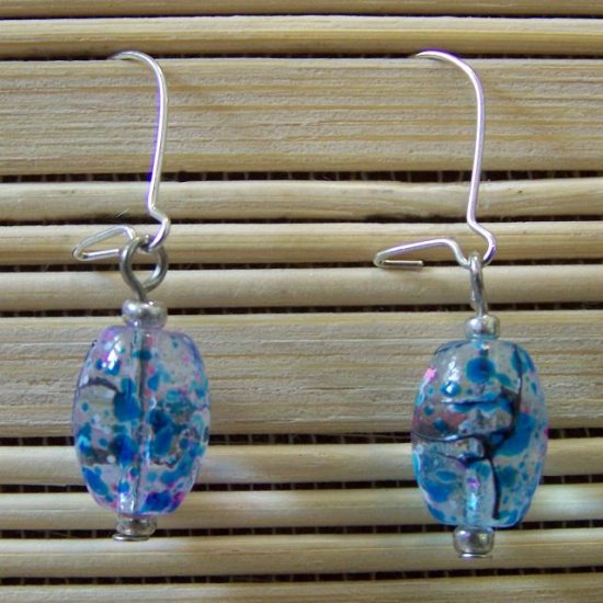 clear speckled oval dangle earrings