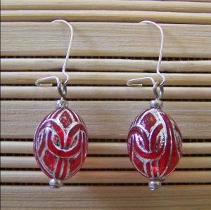 red egg dangle earrings