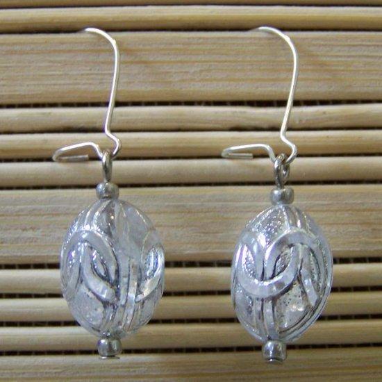 silver egg dangle earrings
