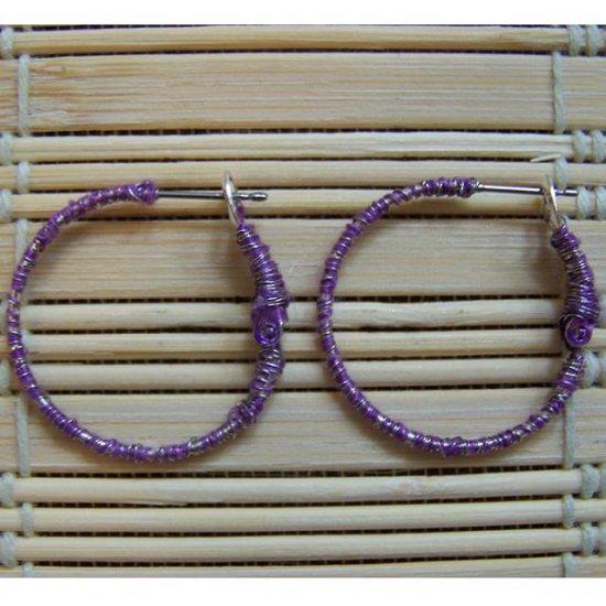 purple wrapped hoop earrings
