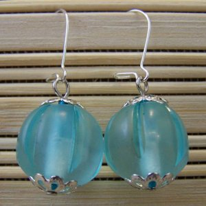 turquoise sheer round dangle earrings