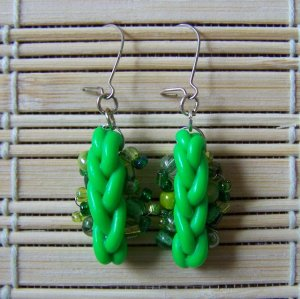 mixed green clay braid dangle earrings