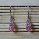simple light rose with crystal Swarovski dangle earrings
