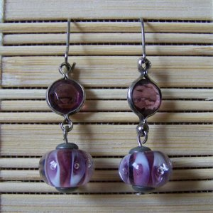 purple glass bubble and silver segment dangle earrings