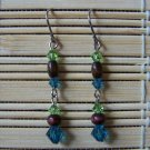 peridot, indicolite and wood Swarovski dangle earrings