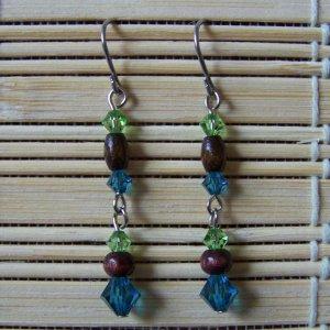 peridot, indicolite and wood Swarovski dangle earrings