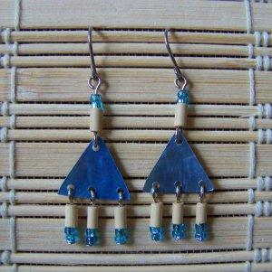 blue triangle mother of pearl chandelier dangle earrings