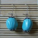 turquoise ceramic with silver dangle earrings