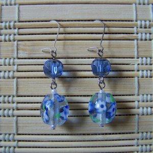 cobalt blue glass flower dangle earrings