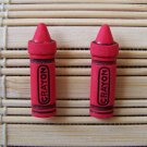 red crayon stud earrings
