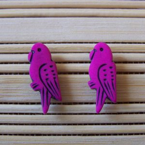 fuschia parrot stud earrings