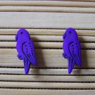 purple parrot stud earrings