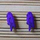 purple parrot stud earrings