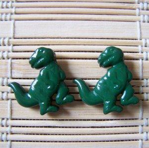 green tyrannosaurus rex stud earrings