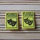 yellow broadway playbill stud earrings