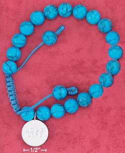 """STERLING SILVER """"LONG LIFE"""" BRACELET- SYNTHETIC BEADS"""