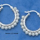 STERLING SILVER- FRESH WATER PEARL HOOP EARRINGS **FREE SHIPPING ITEM**
