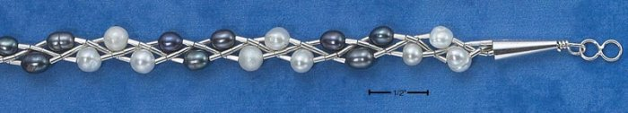 STERLING SILVER- DOUBLE STRAND- FRESH WATER GRAY PEARL BRACELET