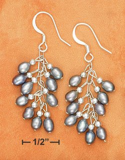 STERLING SILVER- SMALL GRAY FRESH WATER PEARL  CLUSTER EARRINGS