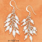 STERLING SILVER- SMALL WHITE FRESH WATER PEARL CLUSTER EARRINGS