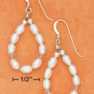 STERLING SILVER- WHITE FRESH WATER PEARL & ROSE QUARTZ LOOP EARRINGS