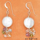 STERLING SILVER- WHITE COIN PEARL EARRINGS W/ MULTI GEMSTONE DANGLE