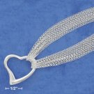 STERLING SILVER- 6 STRAND NECKLACE W/  LARGE OPEN HEART PENDANT **FREE SHIPPING**