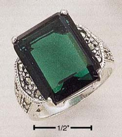STERLING SILVER- MARCASITE RING WITH GREEN QUARTZ STONE