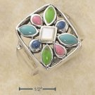 STERLING SILVER- MULTI STONE STARBURST RING
