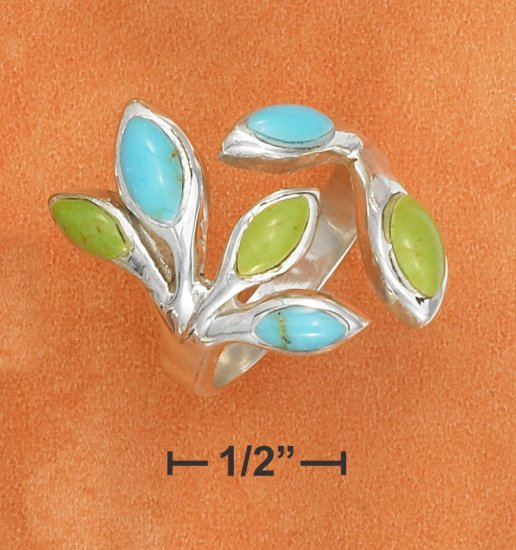 STERLING SILVER- TURQUOISE AND GASPEITE OPEN BRANCH RING