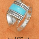 STERLING SILVER- DOMED TURQUOISE BAR RING WITH SCROLL SIDES