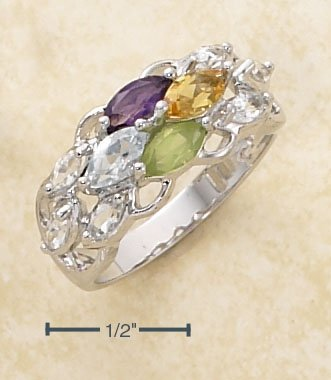 S.S.- PLATINUM PLATED- AMY, CITRINE, BLUE TOPAZ, WHITE TOPAZ, & PERIDOT  **FREE SHIPPING**
