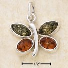 STERLING SILVER- GREEN AND HONEY AMBER BUTTERFLY PENDANT