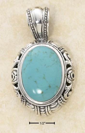 STERLING SILVER LG OVAL TURQUOISE W/ SCROLLED DOME BORDER PENDANT