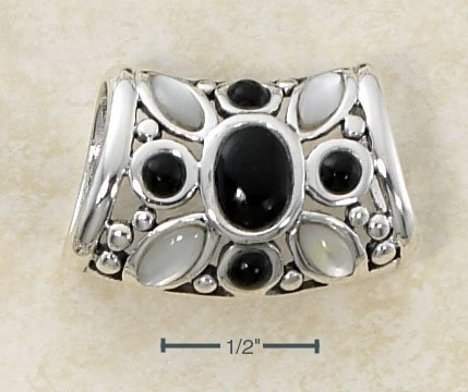 STERLING SILVER ONYX & WHITE MOTHER OF PEARL OPEN FLOWER SETTING SLIDE PENDANT