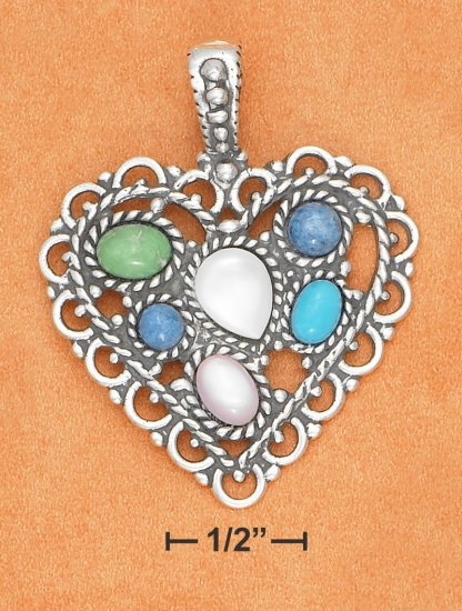 STERLING SILVER- LACY MULTI GEMSTONE ANTIQUED HEART PENDANT **FREE SHIPPING ITEM**