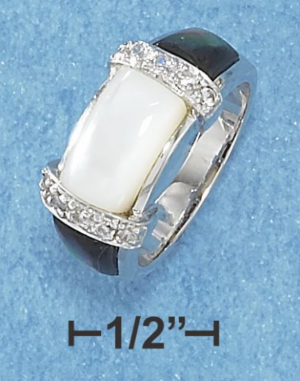 STERLING SILVER  WHITE & GRAY MOTHER OF PEARL AND PAVE SET CLEAR CZ STONE RING **FREE SHIPPING**