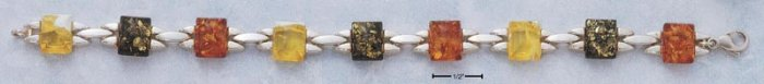 "STERLING SILVER 7.25"" RECTANGULAR MIXED COLOR AMBER STAMPATO LINK BRACELET"
