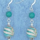 STERLING SILVER AQUA, GOLD FOIL, & WHT SWIRL GLASS BEAD  EARRINGS