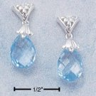STERLING SILVER FANCY PEAR SHAPED BLUE TOPAZ BRIOLETTE DANGLE POST EARRINGS **FREE SHIPPING ITEM**