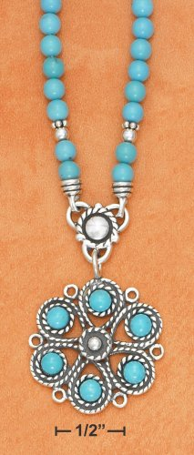 STERLING SILVER TURQUOISE BEAD NECKLACE W/ ROPED TURQUOISE FLOWER