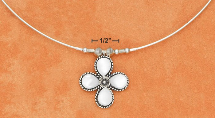 STERLING SILVER  NECKLACE  WITH ROPED MOTHER OF PEARL FLOWER
