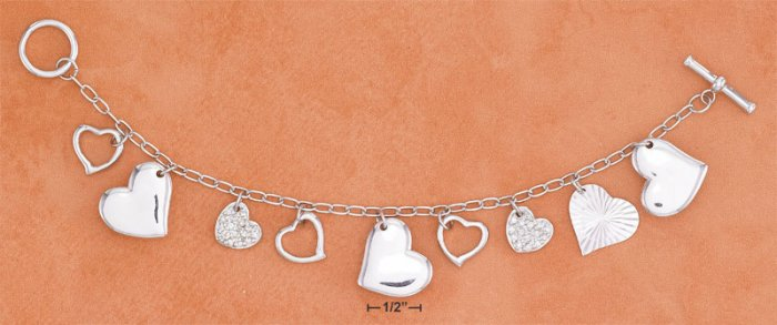 STERLING SILVER  LINK MULTIPLE HEARTS CHARM BRACELET W/ TOGGLE **FREE SHIPPING ITEM**