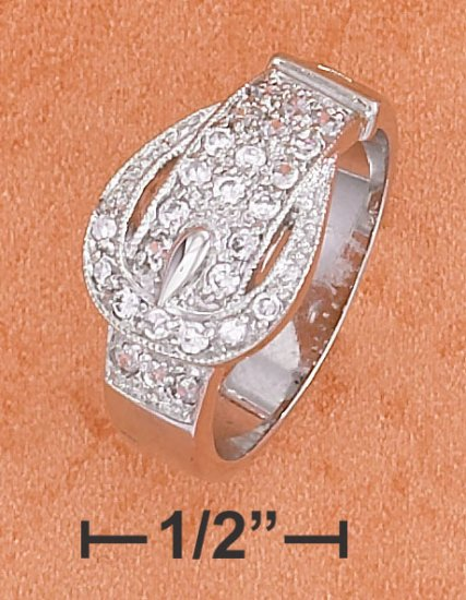 STERLING SILVER  CZ BAND RING DEPICTING A BELT AND BUCKLE
