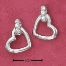 STERLING SILVER- OPEN HEART POST EARRINGS W/CZ