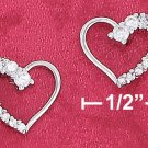 STERLING SILVER- OPEN HEART CZ EARRINGS **FREE SHIPPING ITEM**